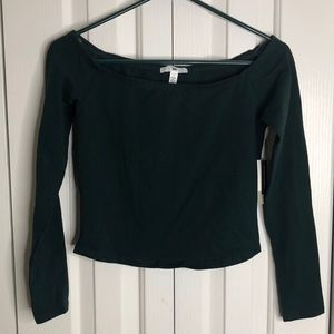 NWT BP size S green longsleeved belly crop top